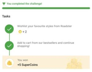 First Of All Just Visit This Link - http://www.flipkart.com/gamification/home Open Link In Mobile App You Will See 'Monsoon Challenge' Task Click On Tap To Participate Complete All 5 Tasks You Will Receive 2+8 = 10 Free Supercoins Free Supercoins Rewards Will Be Instantly Credited In Your Wallet